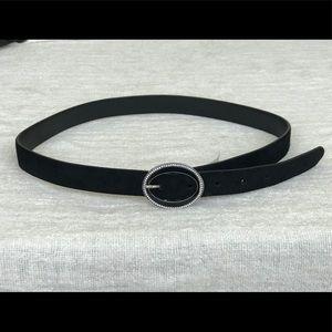 Suede belt with Swarovski crystal buckle